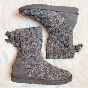 Ugg Isla Cable Knit Short Boots Size 9 Gray